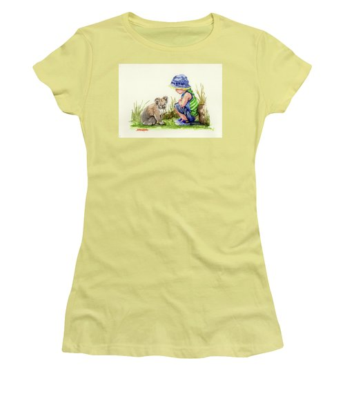 Women's T-Shirt (Junior Cut) featuring the painting Little Friends Watercolor by Margaret Stockdale