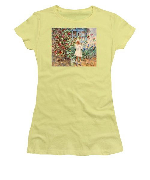 Little Girl With Roses  Women's T-Shirt (Athletic Fit)