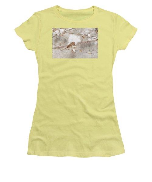 Little House Sparrow Women's T-Shirt (Junior Cut) by Lila Fisher-Wenzel