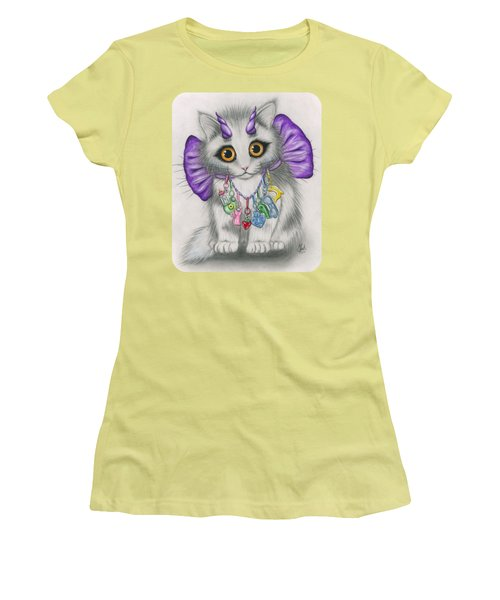 Women's T-Shirt (Athletic Fit) featuring the mixed media Little Purple Horns - 1980s Cute Devil Kitten by Carrie Hawks