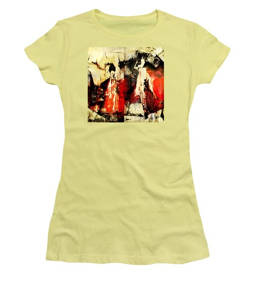 Little Red Riding Hood And The Big Bad Wolf Under A Yellow Moon Women's T-Shirt (Junior Cut) by Jeff Burgess