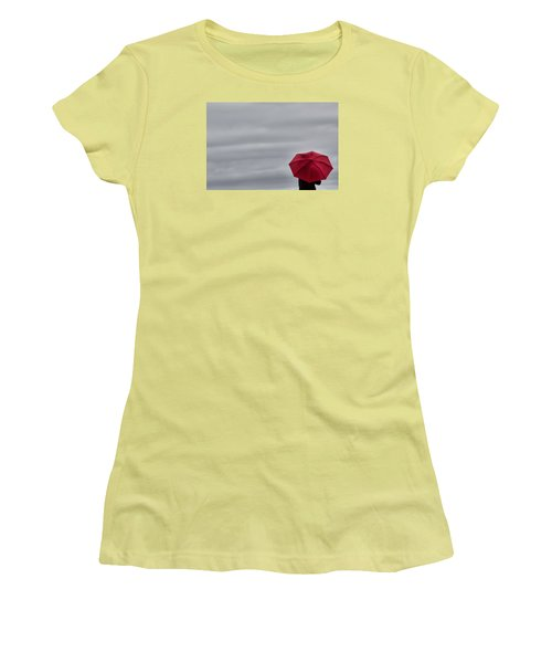Little Red Umbrella In A Big Universe Women's T-Shirt (Junior Cut) by Don Schwartz