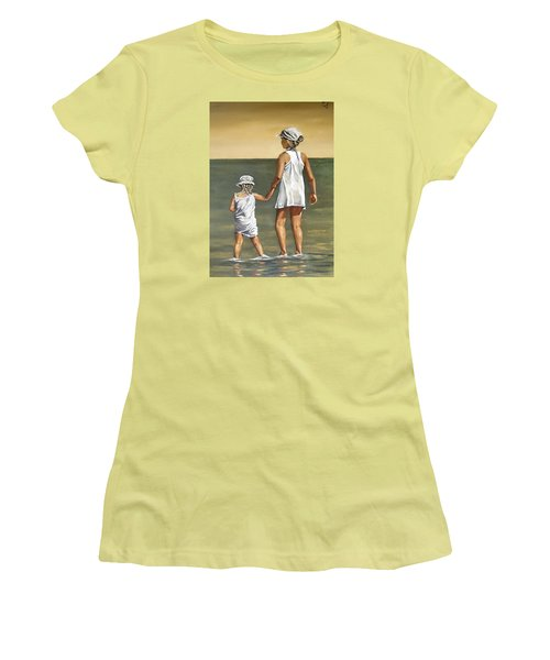 Women's T-Shirt (Junior Cut) featuring the painting Little Sisters by Natalia Tejera