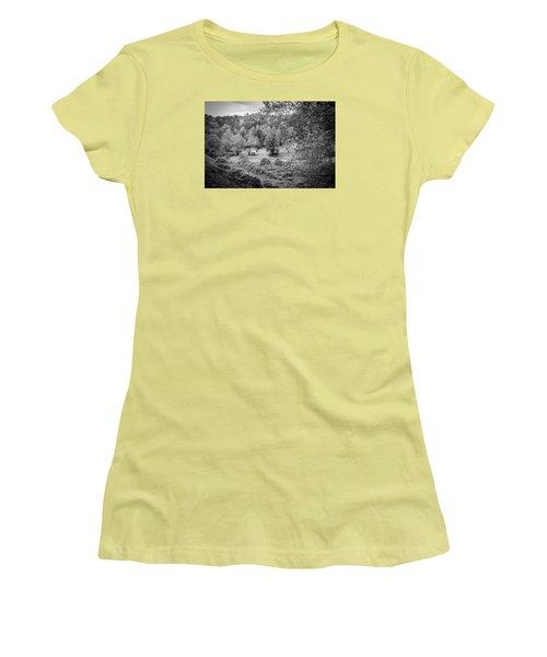 Little Victorian Farm House In A Mountain Field Women's T-Shirt (Junior Cut) by Kelly Hazel