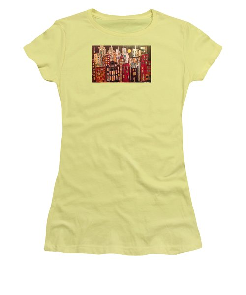 Lively City Skyline Women's T-Shirt (Junior Cut) by Roxy Rich