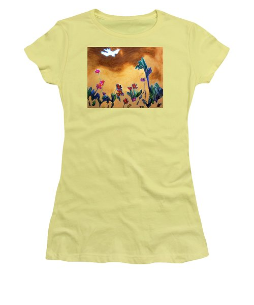 Women's T-Shirt (Junior Cut) featuring the painting Living Earth by Winsome Gunning
