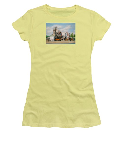 Women's T-Shirt (Junior Cut) featuring the painting Load  The Big Orange Truck by Oz Freedgood