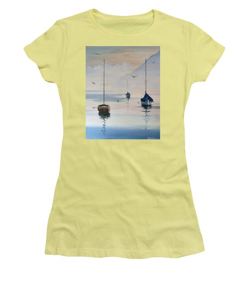 Locarno Boats In February-2 Women's T-Shirt (Junior Cut) by David Gilmore