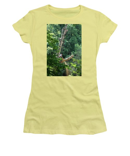 Logger Cutting Down Large, Tall Tree Women's T-Shirt (Athletic Fit)