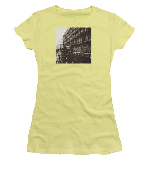 London Rain Women's T-Shirt (Junior Cut) by Trystan Oldfield