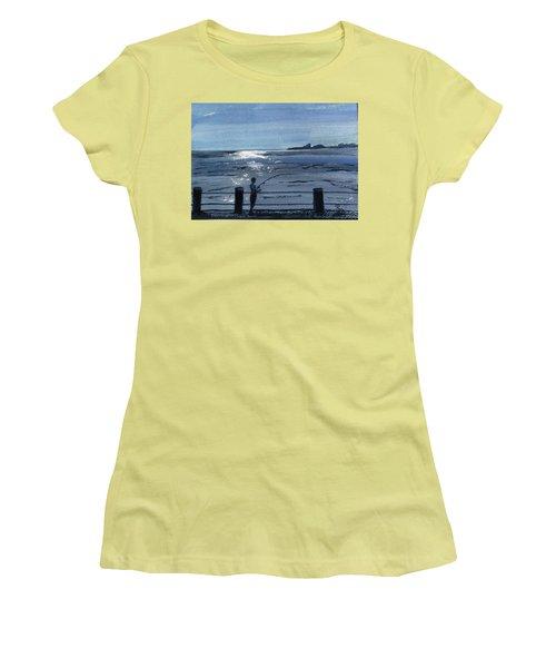 Lone Fisherman On Worthing Pier Women's T-Shirt (Junior Cut) by Carole Robins