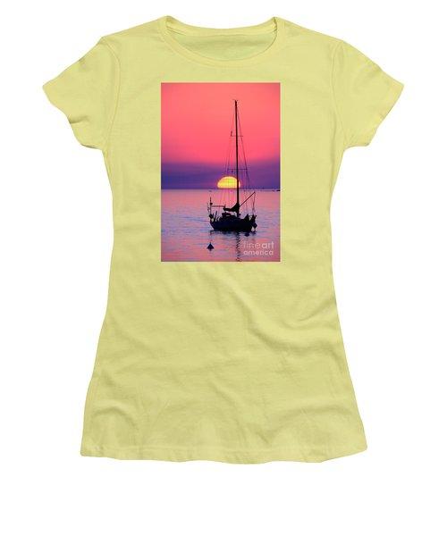 Women's T-Shirt (Junior Cut) featuring the photograph Lonely Sunset by Bernardo Galmarini