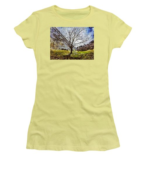 Women's T-Shirt (Athletic Fit) featuring the painting Lonely Tree by Derek Gedney