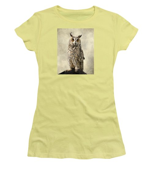 Long Eared Owl Women's T-Shirt (Junior Cut) by Linsey Williams