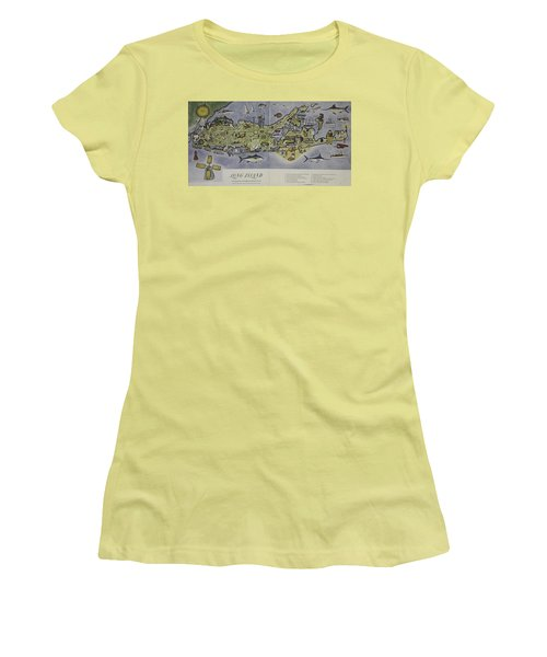 Women's T-Shirt (Junior Cut) featuring the photograph Long Island An Interpretive Cartograph by Duncan Pearson
