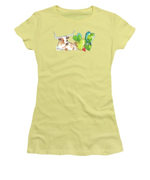 Longhorn And Valentine Cactus Women's T-Shirt (Athletic Fit)