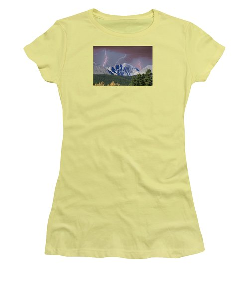 Longs Peak Lightning Storm Fine Art Photography Print Women's T-Shirt (Junior Cut)