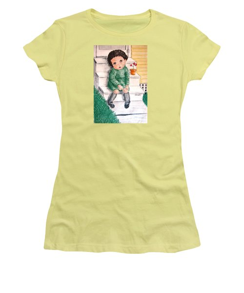 Lonley Girl On Back Step Women's T-Shirt (Athletic Fit)