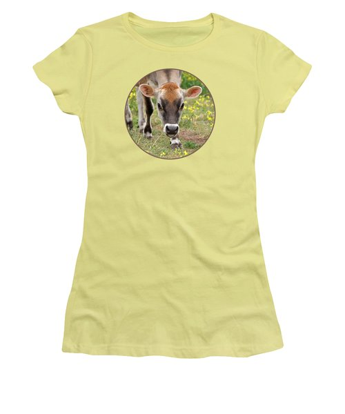 Look Into My Eyes - Jersey Cow - Square Women's T-Shirt (Junior Cut) by Gill Billington