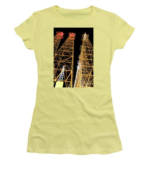 Looking Up At The Kilgore Lighted Derricks Women's T-Shirt (Athletic Fit)