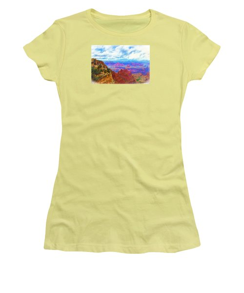 Women's T-Shirt (Junior Cut) featuring the digital art Lookout Studio Sketched by Kirt Tisdale