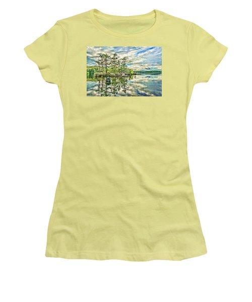 Loon Island Women's T-Shirt (Junior Cut) by Daniel Hebard