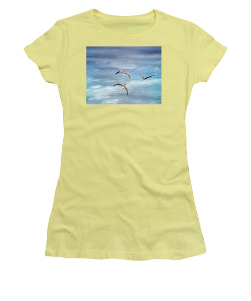 Loons Over Ice - Three Women's T-Shirt (Junior Cut) by Vicki Jauron