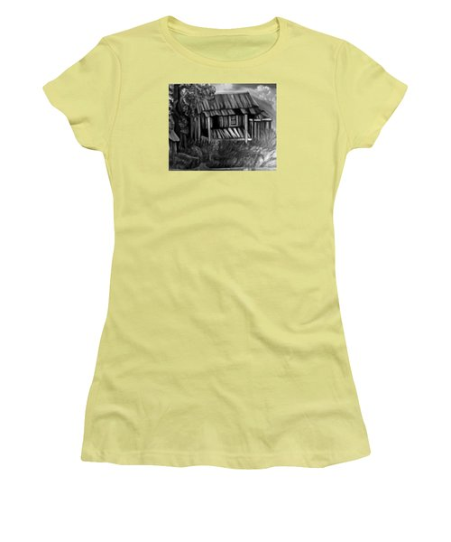 Women's T-Shirt (Junior Cut) featuring the painting Lost Home by Mildred Chatman