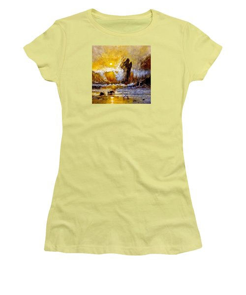 Women's T-Shirt (Junior Cut) featuring the painting Lost In A Sunset.. by Cristina Mihailescu