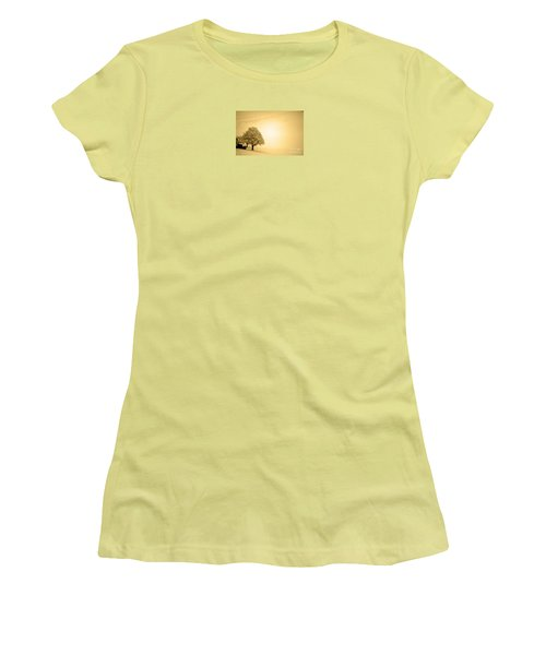 Women's T-Shirt (Junior Cut) featuring the photograph Lost In Snow - Winter In Switzerland by Susanne Van Hulst