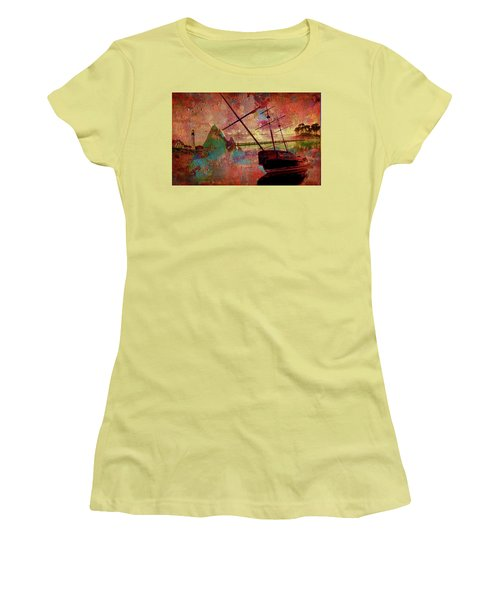 Women's T-Shirt (Junior Cut) featuring the digital art Lost Island by Greg Sharpe