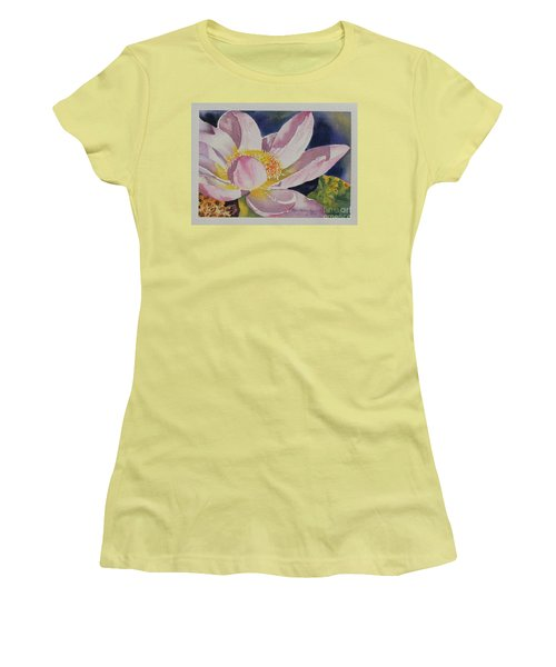 Women's T-Shirt (Junior Cut) featuring the painting Lotus Bloom by Mary Haley-Rocks