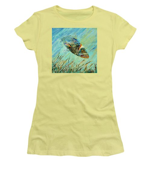 Women's T-Shirt (Junior Cut) featuring the painting Louisiana Speckled by Dianne Parks