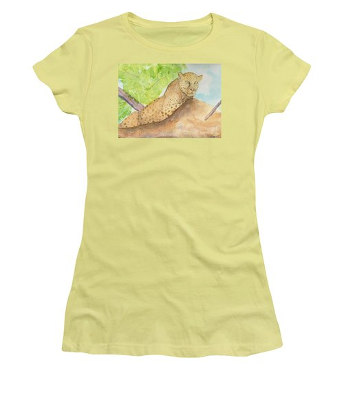 Women's T-Shirt (Junior Cut) featuring the painting Lounging Leopard by Vicki  Housel