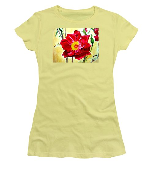 Women's T-Shirt (Junior Cut) featuring the painting Love Rose by Ana Maria Edulescu