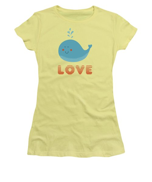 Women's T-Shirt (Junior Cut) featuring the photograph Love Whale Cute Animals by Edward Fielding