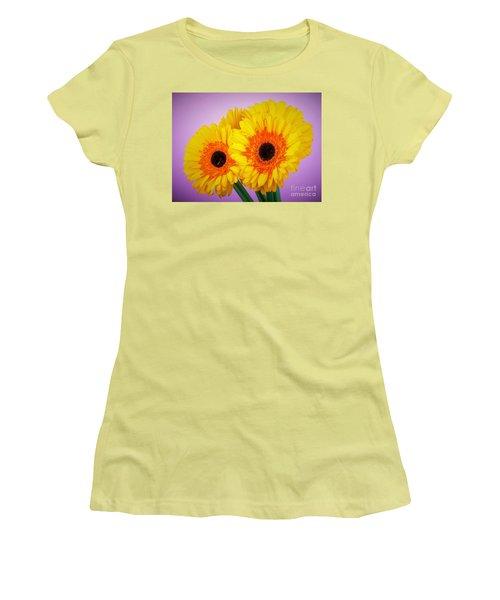 Lovely And Beautiful - Gerbera Daisies Women's T-Shirt (Junior Cut) by Ray Shrewsberry