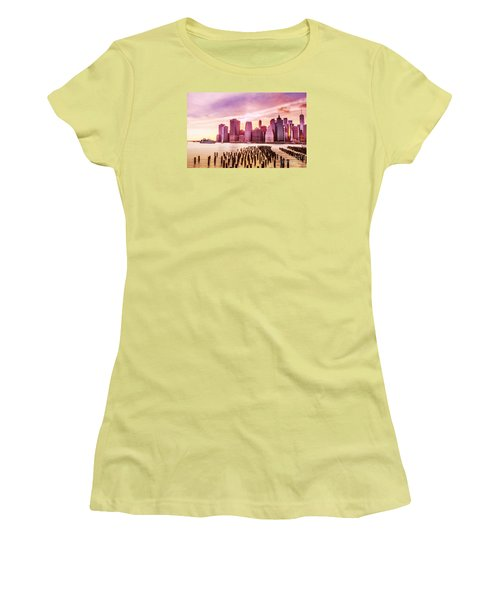 Lower Manhattan And Ferry Women's T-Shirt (Junior Cut) by Rima Biswas