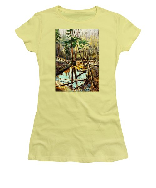 Women's T-Shirt (Junior Cut) featuring the painting  Lubianka-1- River by Henryk Gorecki