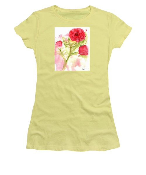 Lucky Rose Women's T-Shirt (Junior Cut) by Sandy McIntire