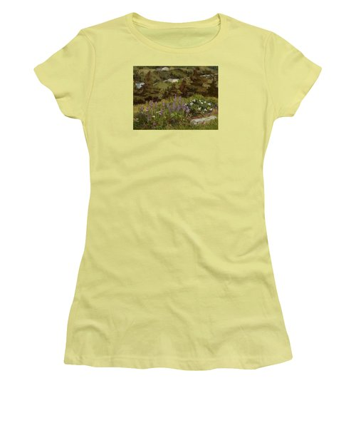 Lupine And Wild Roses Women's T-Shirt (Junior Cut) by Jane Thorpe