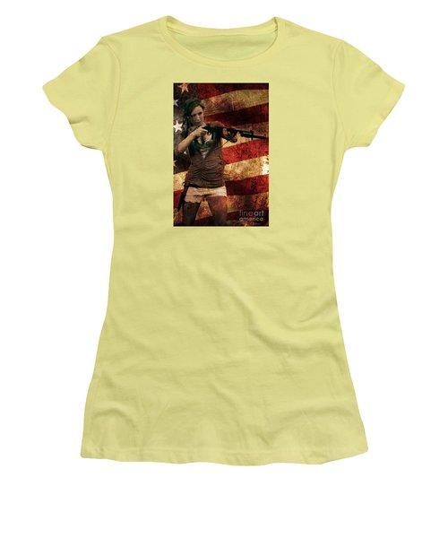 M1 Carbine On American Flag Women's T-Shirt (Junior Cut) by David Bazabal Studios