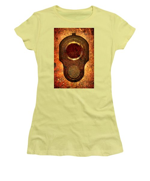 M1911 Muzzle On Rusted Background Women's T-Shirt (Junior Cut) by M L C