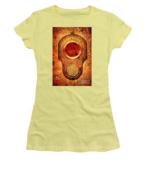 M1911 Muzzle On Rusted Background - With Red Filter Women's T-Shirt (Junior Cut) by M L C