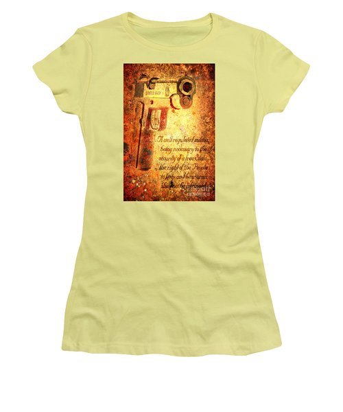 M1911 Pistol And Second Amendment On Rusted Overlay Women's T-Shirt (Athletic Fit)