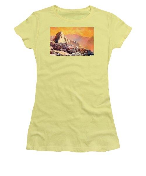Women's T-Shirt (Junior Cut) featuring the painting Machu Picchu Sunset by Ryan Fox