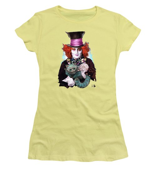 Mad Hatter And Cheshire Cat Women's T-Shirt (Athletic Fit)