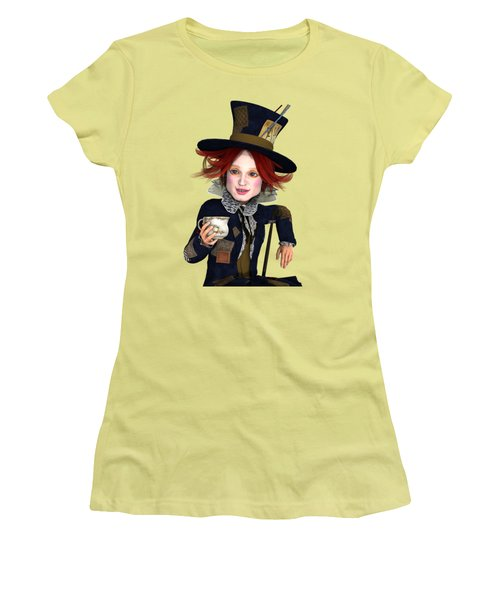 Mad Hatter Portrait Women's T-Shirt (Junior Cut) by Methune Hively
