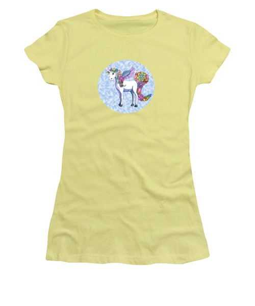 Madeline The Magic Unicorn 2 Women's T-Shirt (Junior Cut) by Shelley Wallace Ylst
