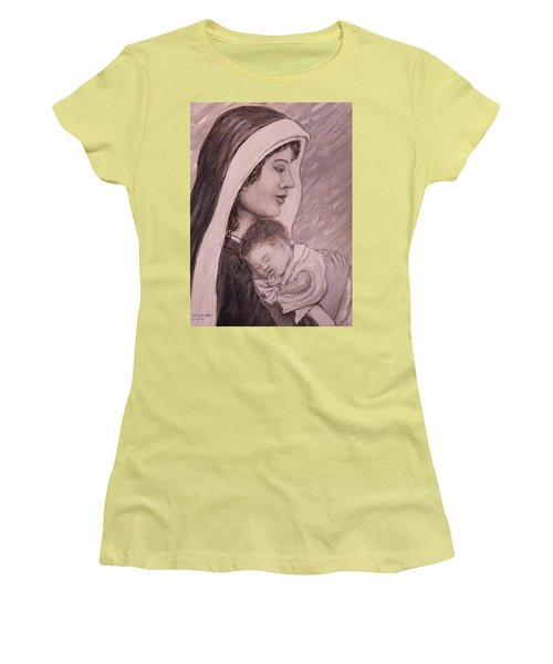 Madonna And Child In Black And White Women's T-Shirt (Athletic Fit)